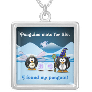 Fantasy Glacier Penguins Wizard Fairy Crystal Ball Silver Plated Necklace