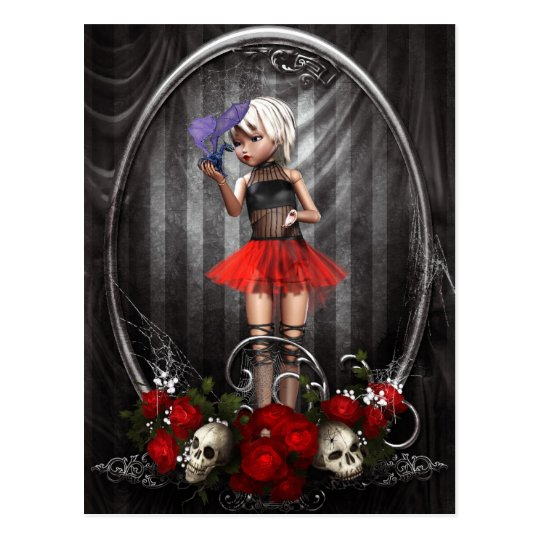 fantasy goth doll girl postcard