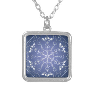 Fantasy Goth Mandala ET Alien Crystal Ball Silver Plated Necklace