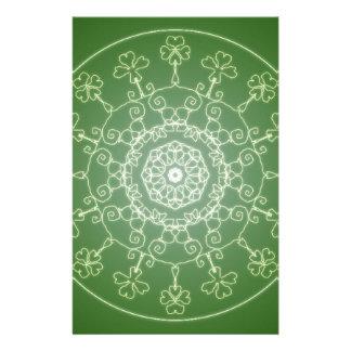 Fantasy Goth Mandala  Four Leaf Clover Irish Luck Stationery