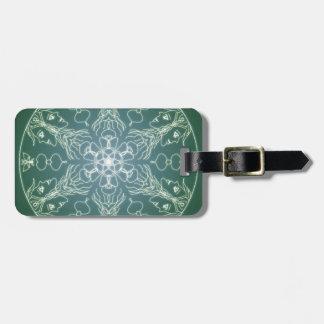 Fantasy Goth Mandala Green Elf Crystal Ball Luggage Tag