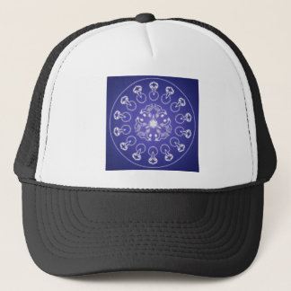 Fantasy Goth Mandala Raven Crow Crystal Ball Trucker Hat