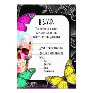 "Fantasy gothic skull black wedding R.S.V.P 3.5"" X 5"" Invitation Card"