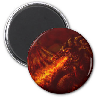 Fantasy Great Red Dragon Breathing Fire 2 Inch Round Magnet