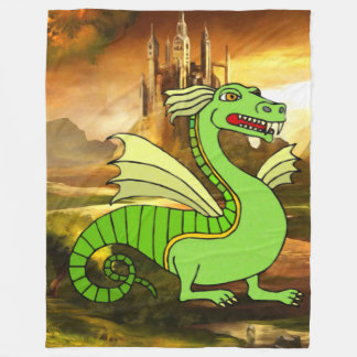 Fantasy Green Dragon Fleece Blanket