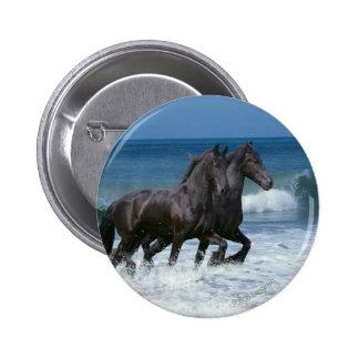 Fantasy Horses Friesians Sea Pinback Button