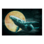 Fantasy Humpback Whale Flying to The Moon Poster