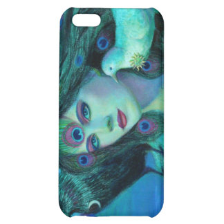 Fantasy iphone 4 case Crow peacock feathers lady