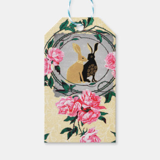 Fantasy Jackrabbit Hares Rose Romantic Collage Pack Of Gift Tags