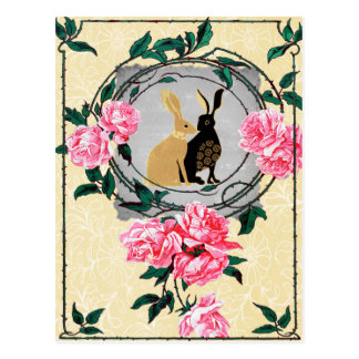 Fantasy Jackrabbit Hares Rose Romantic Collage Postcard