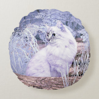 Fantasy kitty cat round pillow
