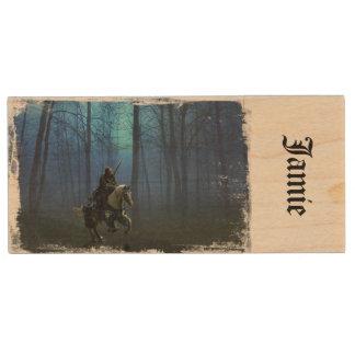 Fantasy Knight 'MidKnight Ride'  Wooden USB Key Wood USB Flash Drive