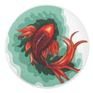 Fantasy Koi Fish Art Ceramic Knob