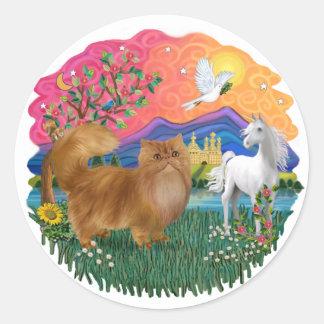Fantasy Land (ff) - red Persian cat Classic Round Sticker