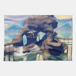 Fantasy landscape with a rock in the ocean kitchen towels