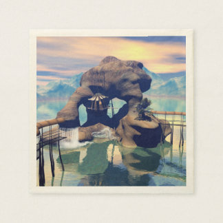Fantasy landscape with a rock in the ocean paper napkins