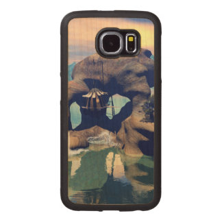 Fantasy landscape with a rock wood phone case