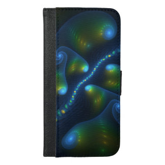 Fantasy Lights Abstract Blue Green Yellow Fractal iPhone 6/6s Plus Wallet Case