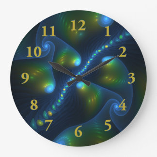 Fantasy Lights Abstract Blue Green Yellow Fractal Large Clock