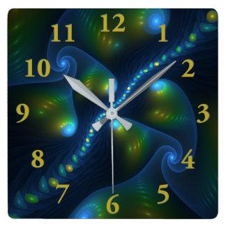 Fantasy Lights Abstract Blue Green Yellow Fractal Square Wall Clock