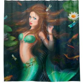 Fantasy mermaid in lake  Shower Curtain