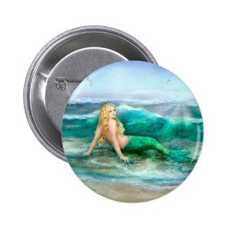 Fantasy Mermaid on Shore of Aqua Blue Sea 2 Inch Round Button