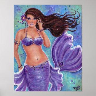 Fantasy mermaid purple poster By Renee L.Lavoie