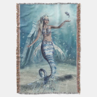 Fantasy Mermaid Woven Throw Blanket