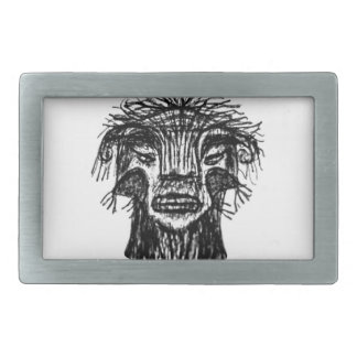 Fantasy Monster Head Drawing Rectangular Belt Buckles