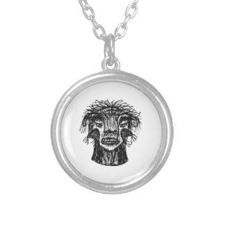 Fantasy Monster Head Drawing Silver Plated Necklace