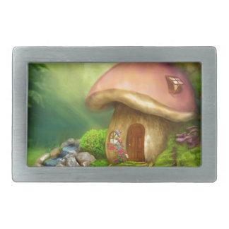 Fantasy mushroom house belt buckles