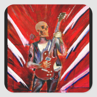 Fantasy music art skull guitarist square sticker