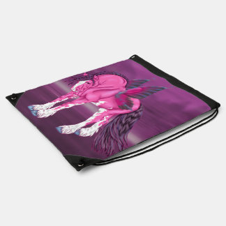 Fantasy Pixie Fairy Clydesdale Horse Drawstring Bag