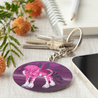 Fantasy Pixie Fairy Clydesdale Horse Keychain