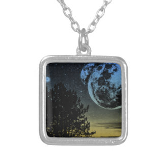 Fantasy planet silver plated necklace