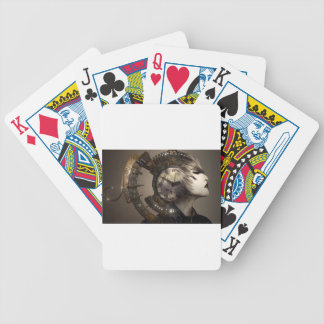 Fantasy Portrait Surreal Woman Helm Clock Bicycle Playing Cards