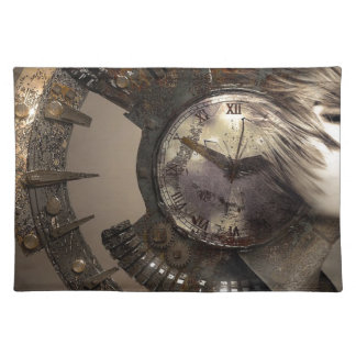 Fantasy Portrait Surreal Woman Helm Clock Placemat