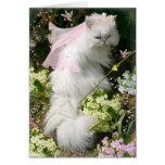 FANTASY PRINCESS CAT IN FLOWER GARDEN GREETING CARD