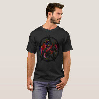 Fantasy Red Dragon Pentacle Graphic Tee
