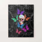 Fantasy skull and coloured butterflies jigsaw puzzle