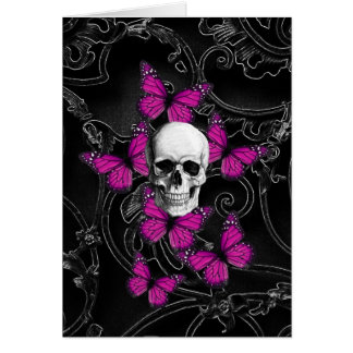Fantasy skull and hot pink butterflies card