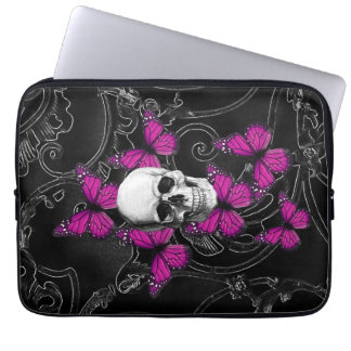 Fantasy skull and hot pink butterflies laptop computer sleeve