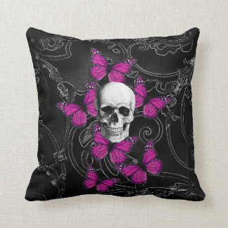 Fantasy skull and hot pink butterflies throw pillow