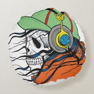 Fantasy Skull Design Round Pillow