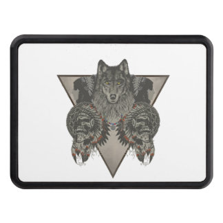 Fantasy Skull Wolf and Indian Tow Hitch Cover