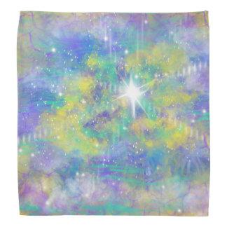 Fantasy Space Star Blue Yellow Abstract Art Design Bandana