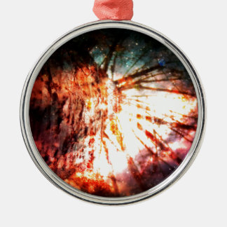 Fantasy Starry Forest 2 Silver-Colored Round Ornament