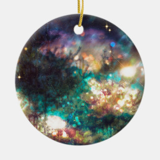 Fantasy Starry Forest 5 Round Ceramic Ornament