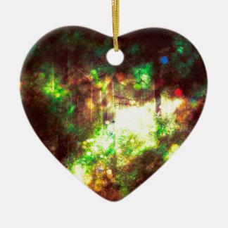 Fantasy Starry Forest 6 Ceramic Heart Ornament