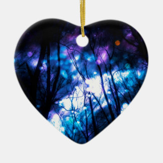 Fantasy Starry Forest 7 Ceramic Heart Ornament